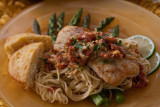 Cod Fillet with Angel Hair Pasta with Citrus Cream Sauce