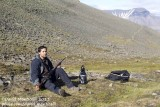Svalbard - Benjamin (trekking guide) with rifle (for protection against Polar Bears)
