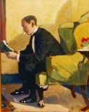 Ashley Smith in his favourite chair by Jan Gordon. The chair is currently upholstered in red! Author's collection.