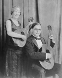 Jan and Cora Gordon with instruments, 1920s.