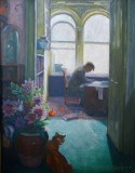 Jan at home in Clanricarde Gardens, London, painted by Cora. Author's collection.