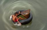 Girl on a tube