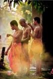 Buddhist monks having tonsure
