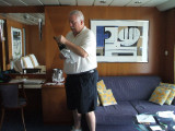 On Celebrity our cabin -hubby opening our champagne