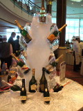 On Celebrity- a wine display in ice at a buffet