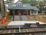 raised concrete platform on the station side