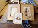 Suitcase contents. A decaying album full of cabinet cards. Unfortunately, the album itself was too far gone to save.