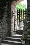 A sideways look through an old church gate