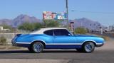 Blue Oldsmobile on Christmas