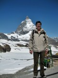At the Trockener Steg at 2939 mts (9642 ft). a.s.l. With the Matterhorn in the background