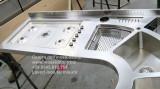 Top cucina inox sagomato con vasche inox su disegno