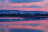 Sunset over Blue Mountain - night skiing lights on