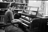 Blair Batty playing organ installed in house one weekend while parents were away...