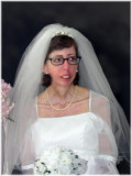 Pretty Bride right after being pronounced Husband and Wife