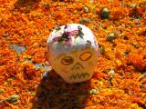 sugar skull, marigolds, & gleeful bees