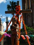 cross, hombre, jardin