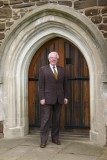 Bill Donnelly, a Trustam descendent outside St. Mary's Harlington, Bedfordshire