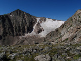 Hallet Peak and Tyndall Glacier, elev. 12,713 ft, viewpoint from Flattop Mountain