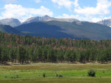 Hallet Peak and Flattop Mountain; view from Beaver Meadows