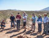 Dr. Bill Walker describing the site to a group from the Jornada Experimental Range