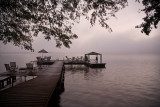Lamanai dock in morning fog