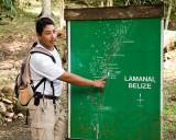Ruben explaining Lamanai ruins