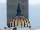 México City's Cathedral roof view of Palacio de Bellas Artes (Fine Arts Palace) dome