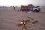 Preparing for the night in the desert