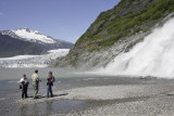 Waterfall and Mendenhall Glacier near Juneau
