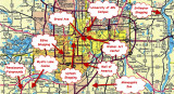 A MAP OF THE GREATER MINNEAPOLIS ST. PAUL AREA SHOWS THE LOCATION OF MYSTIC LAKE CASINO AND SEVERAL OTHER ATTRACTIONS