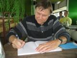 Rick drawing thumbdog Jake