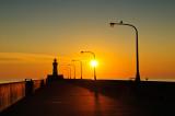 Sunrise at pier Duluth MN