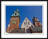 Tall towers and unusual shaped buildings in the grounds of Wawel Castle..