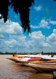 colourful boats along Rajang River