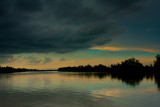 tranquil river at dusk
