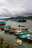 fishing boats in a line