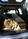 First, fit landscape timbers in your car