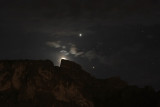 Jupiter, Hyades, and Earthshine, closer to Superstitions