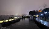 Night walk by the lake