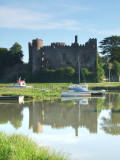 Laugharne  Castle  reflected  in  the high  tide.