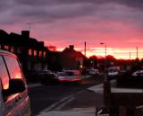 Red  dawn  in  suburbia.