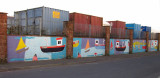 Haulage  depot's  painted  walls.