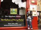 John, posing  outside  another  Harry  Potter  hanger - on.
