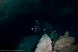 Alex setting up his underwater tripod at Taj Mahal Cenote