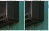 la difference entre une image D300 en RAW 12 ou 14 bits est minime Pour la percevoir il faut, comme ici, éclaircir les basses lumières (D-lighting dans NX) et agrandir à 200%... A gauche image RAW  14 bits à droite 12 bits On peut noter des pixels noirs dans l'image en 12 bits plus nombreux que dans l'image en 14 bits. Ceci est certainement lié à la meilleure exploitation de la dynamique disponible en 14 bits. Compte tenu du poids un peu plus élevé de 14 bits (+30%) et de la limitation de la rafale (2,5i/seconde) il faut reserver cette option aux images réalisées dans des conditions qui necessiteront un post traitement musclé