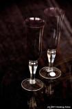 Wine Glasses In A Dark Window