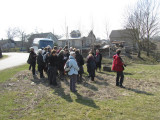 the group exits the bus at an ancient Jewish cemetery