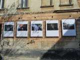 a photo cafe in old town created a street gallery