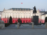 the presidential palace, lit in national colors
