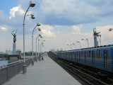 at the Dnipro metro station, waiting for a train to the upper city